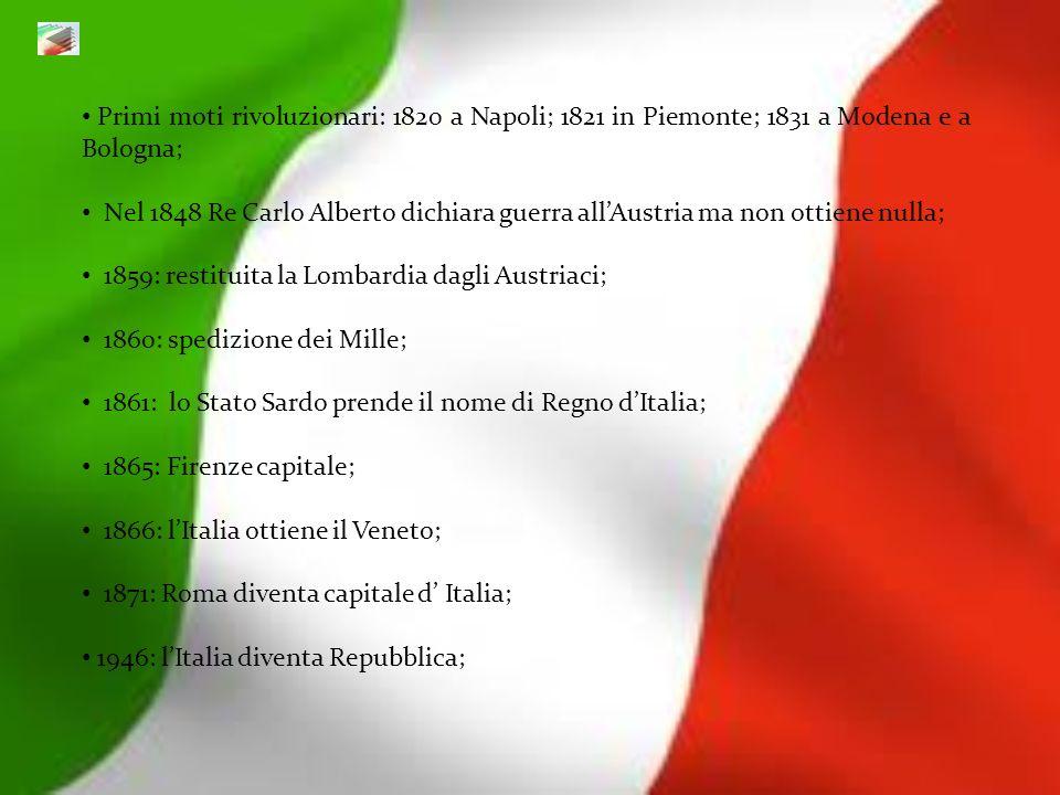 Primi moti rivoluzionari: 1820 a Napoli; 1821 in Piemonte; 1831 a Modena e a Bologna;