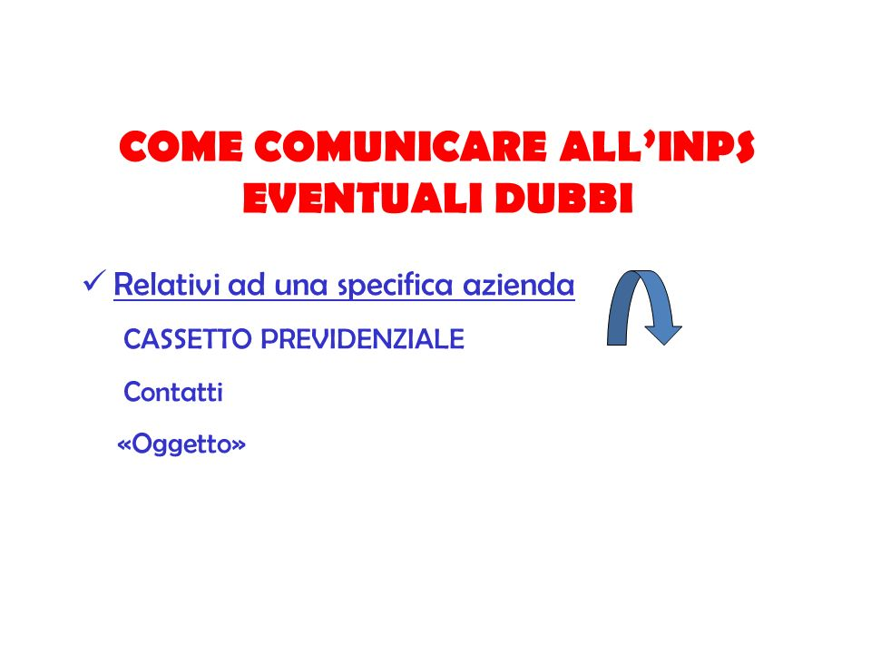 COME COMUNICARE ALL'INPS