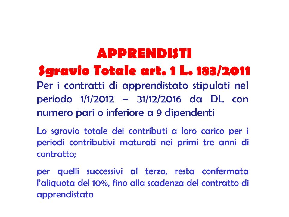 APPRENDISTI Sgravio Totale art. 1 L. 183/2011