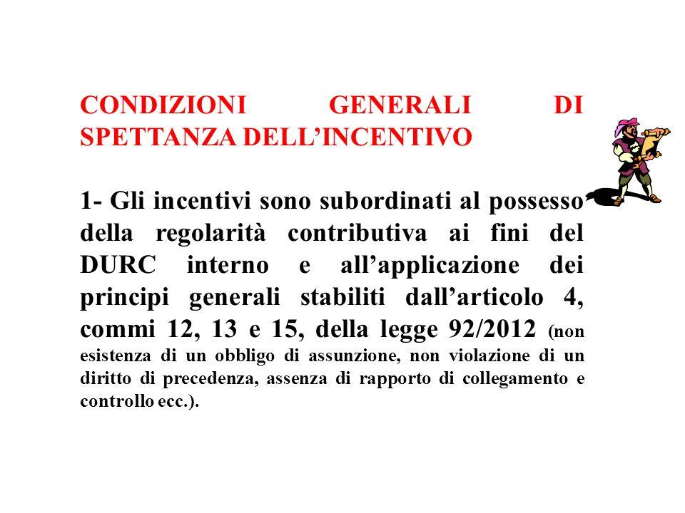 CONDIZIONI GENERALI DI SPETTANZA DELL'INCENTIVO