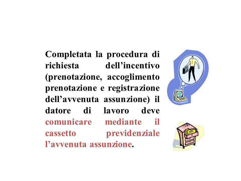 Completata la procedura di richiesta dell'incentivo (prenotazione, accoglimento prenotazione e registrazione dell'avvenuta assunzione) il datore di lavoro deve comunicare mediante il cassetto previdenziale l'avvenuta assunzione.