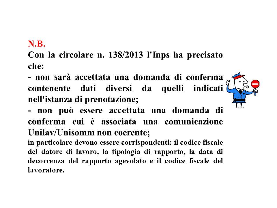 Con la circolare n. 138/2013 l Inps ha precisato che: