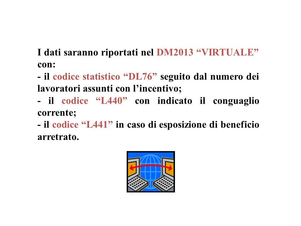 I dati saranno riportati nel DM2013 VIRTUALE con: