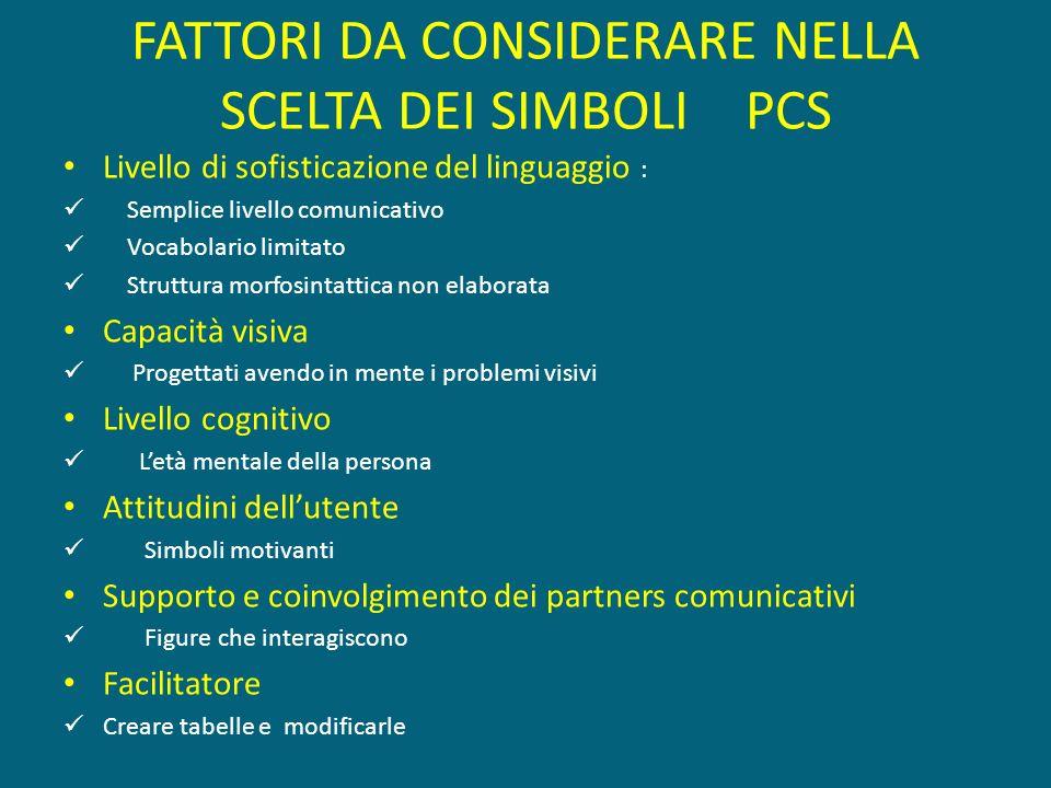 FATTORI DA CONSIDERARE NELLA SCELTA DEI SIMBOLI PCS