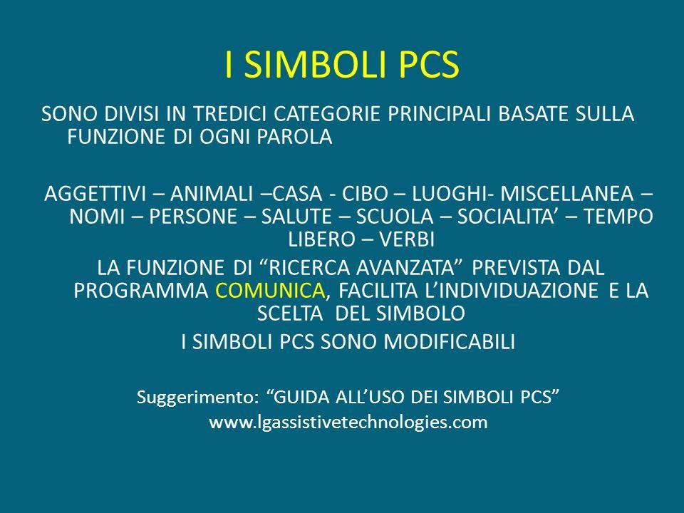 I SIMBOLI PCS SONO DIVISI IN TREDICI CATEGORIE PRINCIPALI BASATE SULLA FUNZIONE DI OGNI PAROLA.