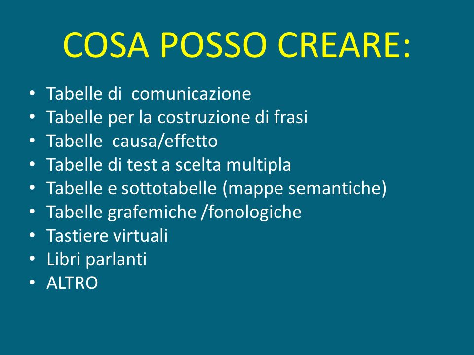 COSA POSSO CREARE: Tabelle di comunicazione