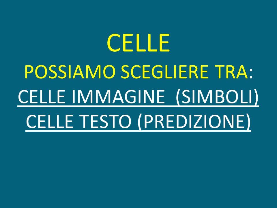 CELLE POSSIAMO SCEGLIERE TRA: CELLE IMMAGINE (SIMBOLI) CELLE TESTO (PREDIZIONE)