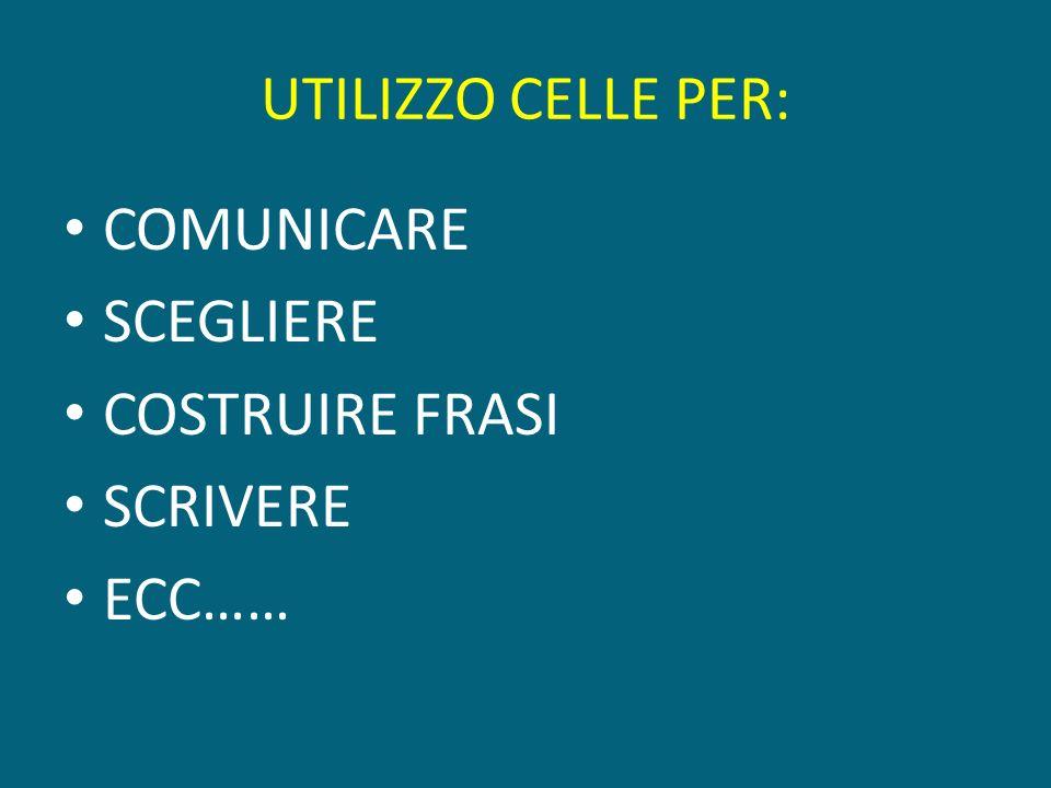 UTILIZZO CELLE PER: COMUNICARE SCEGLIERE COSTRUIRE FRASI SCRIVERE ECC……