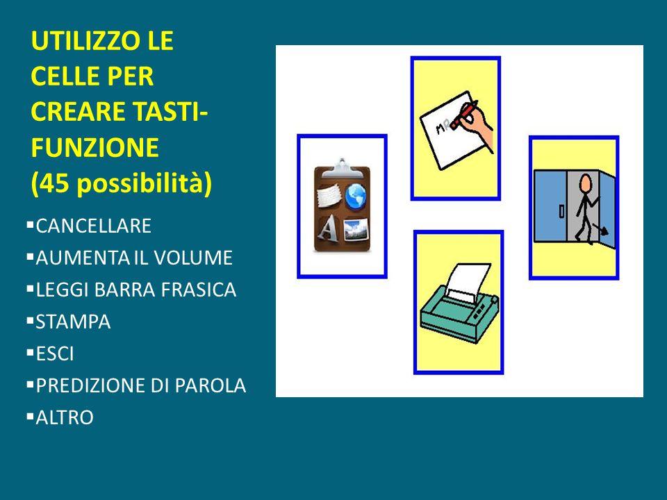 UTILIZZO LE CELLE PER CREARE TASTI-FUNZIONE (45 possibilità)