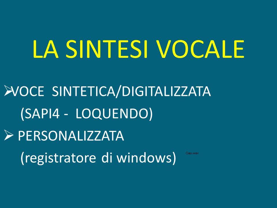 LA SINTESI VOCALE VOCE SINTETICA/DIGITALIZZATA (SAPI4 - LOQUENDO)