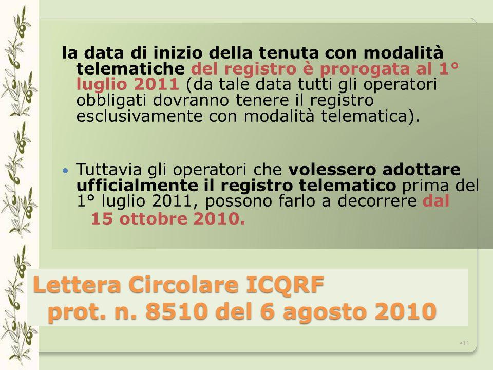 Lettera Circolare ICQRF prot. n. 8510 del 6 agosto 2010