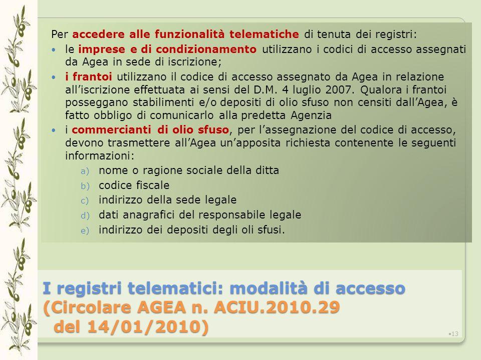 Per accedere alle funzionalità telematiche di tenuta dei registri: