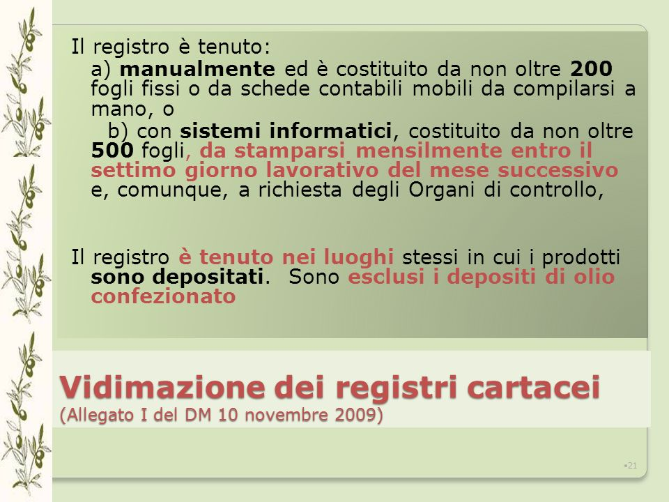 Vidimazione dei registri cartacei (Allegato I del DM 10 novembre 2009)