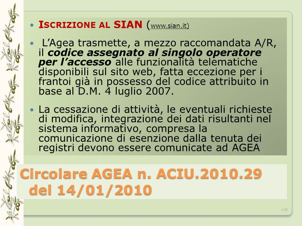Circolare AGEA n. ACIU.2010.29 del 14/01/2010