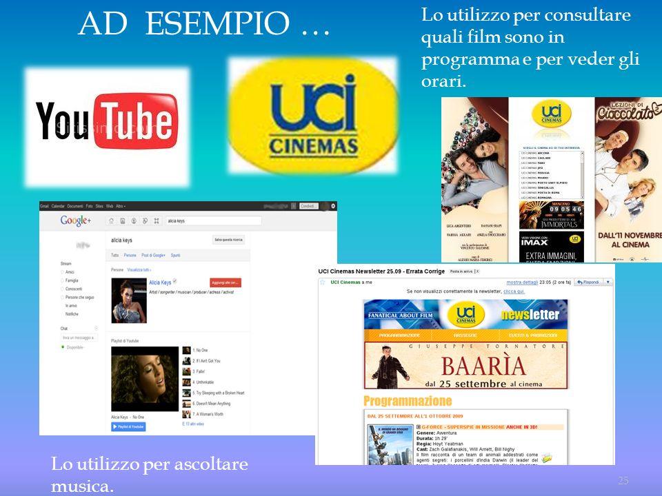AD ESEMPIO … Lo utilizzo per consultare quali film sono in programma e per veder gli orari.