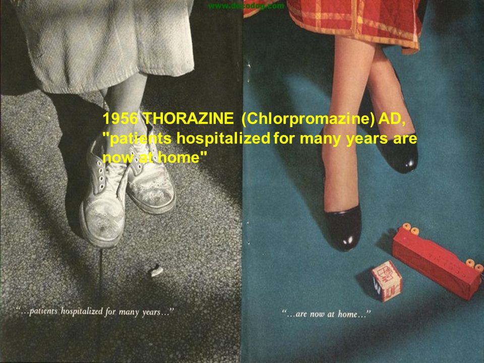 1956 THORAZINE (Chlorpromazine) AD, patients hospitalized for many years are now at home