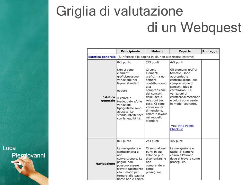 Griglia di valutazione di un Webquest