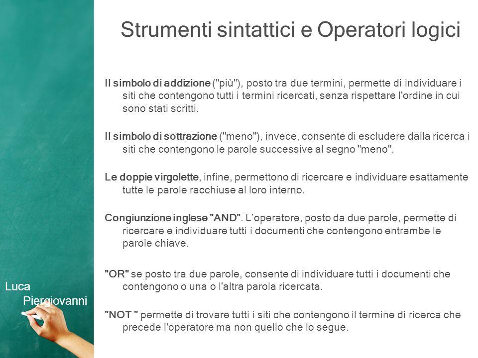 Strumenti sintattici e Operatori logici