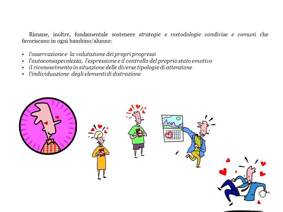 Rimane, inoltre, fondamentale sostenere strategie e metodologie condivise e comuni che favoriscano in ogni bambino/alunno: