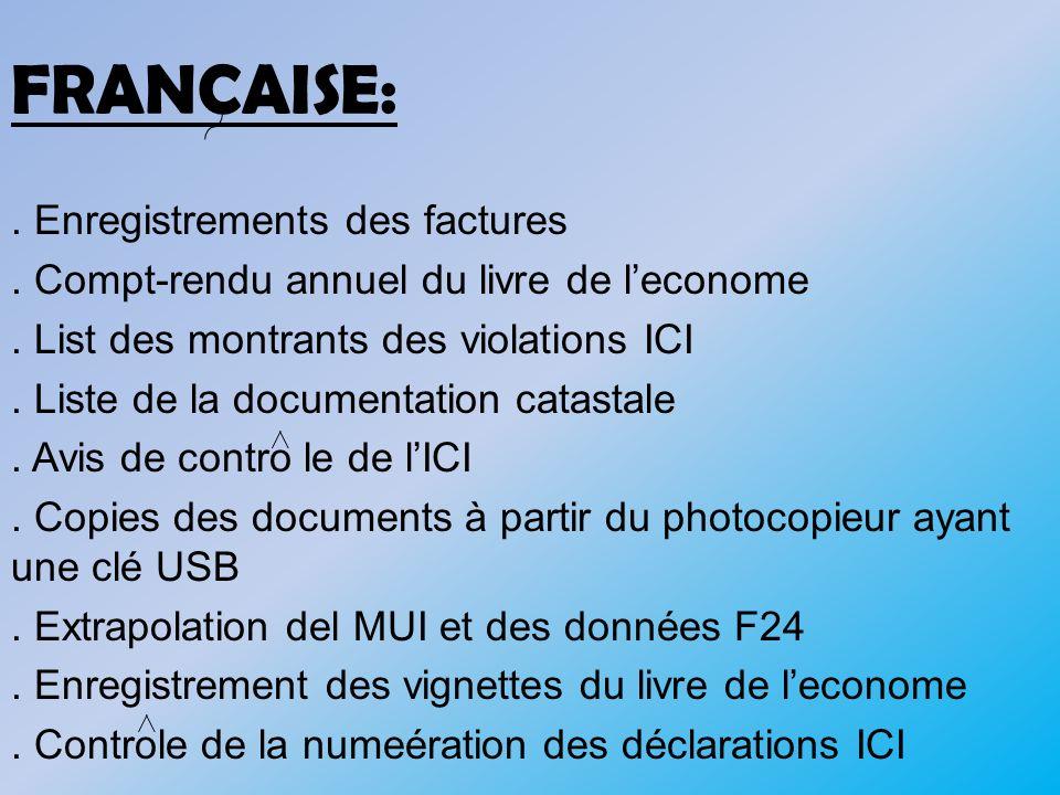 FRANCAISE: . Enregistrements des factures