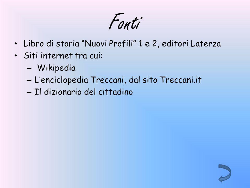 Fonti Libro di storia Nuovi Profili 1 e 2, editori Laterza