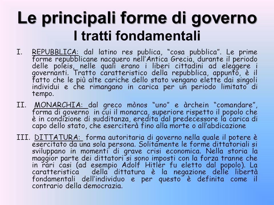 Le principali forme di governo I tratti fondamentali