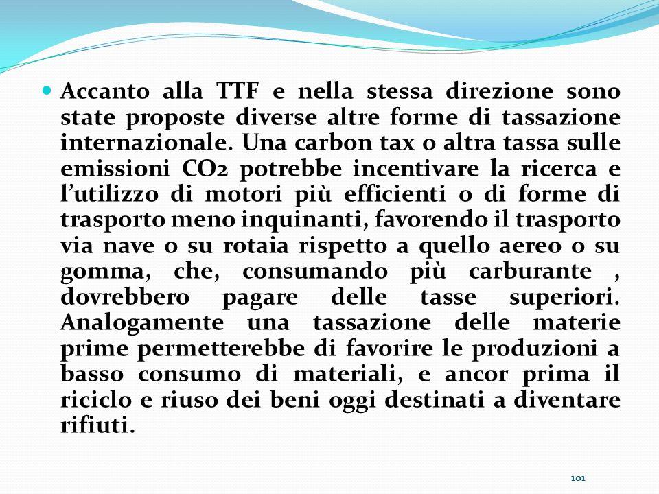 Accanto alla TTF e nella stessa direzione sono state proposte diverse altre forme di tassazione internazionale.
