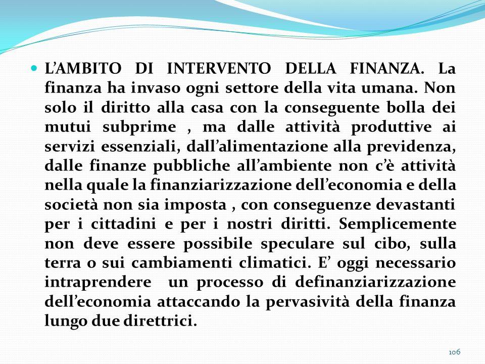 L'AMBITO DI INTERVENTO DELLA FINANZA