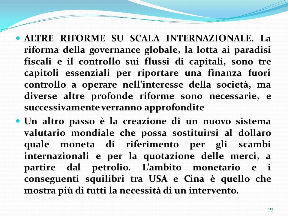 ALTRE RIFORME SU SCALA INTERNAZIONALE