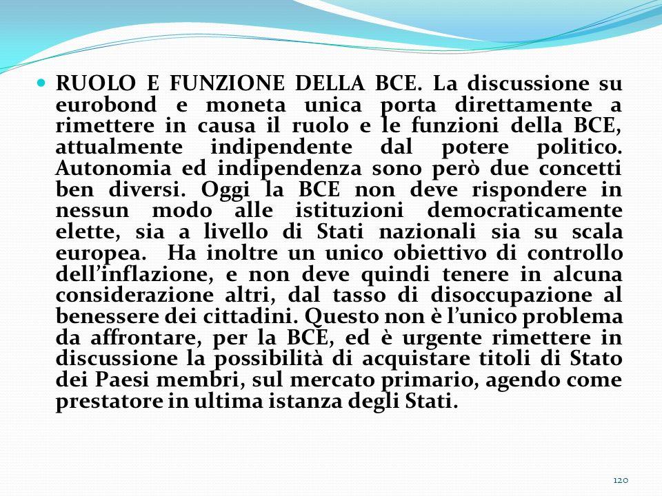 RUOLO E FUNZIONE DELLA BCE
