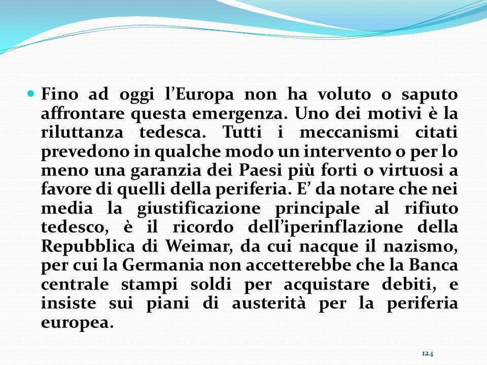 Fino ad oggi l'Europa non ha voluto o saputo affrontare questa emergenza.