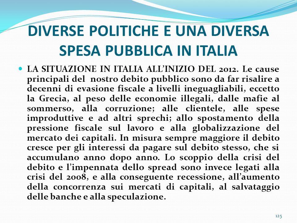 DIVERSE POLITICHE E UNA DIVERSA SPESA PUBBLICA IN ITALIA