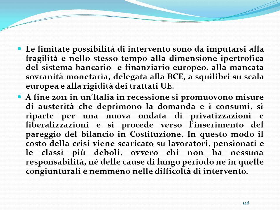 Le limitate possibilità di intervento sono da imputarsi alla fragilità e nello stesso tempo alla dimensione ipertrofica del sistema bancario e finanziario europeo, alla mancata sovranità monetaria, delegata alla BCE, a squilibri su scala europea e alla rigidità dei trattati UE.