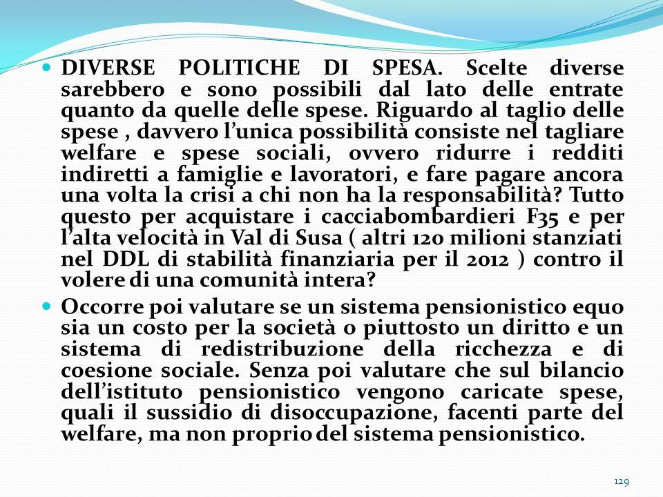 DIVERSE POLITICHE DI SPESA