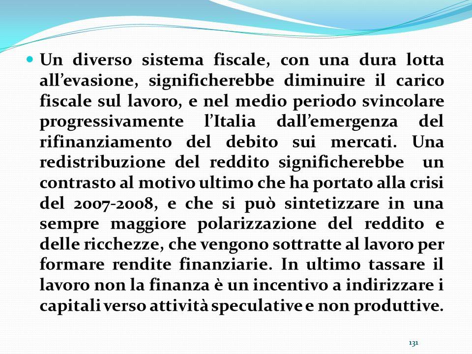 Un diverso sistema fiscale, con una dura lotta all'evasione, significherebbe diminuire il carico fiscale sul lavoro, e nel medio periodo svincolare progressivamente l'Italia dall'emergenza del rifinanziamento del debito sui mercati.