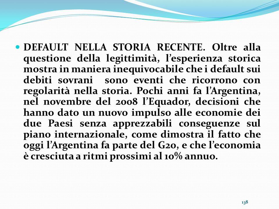 DEFAULT NELLA STORIA RECENTE