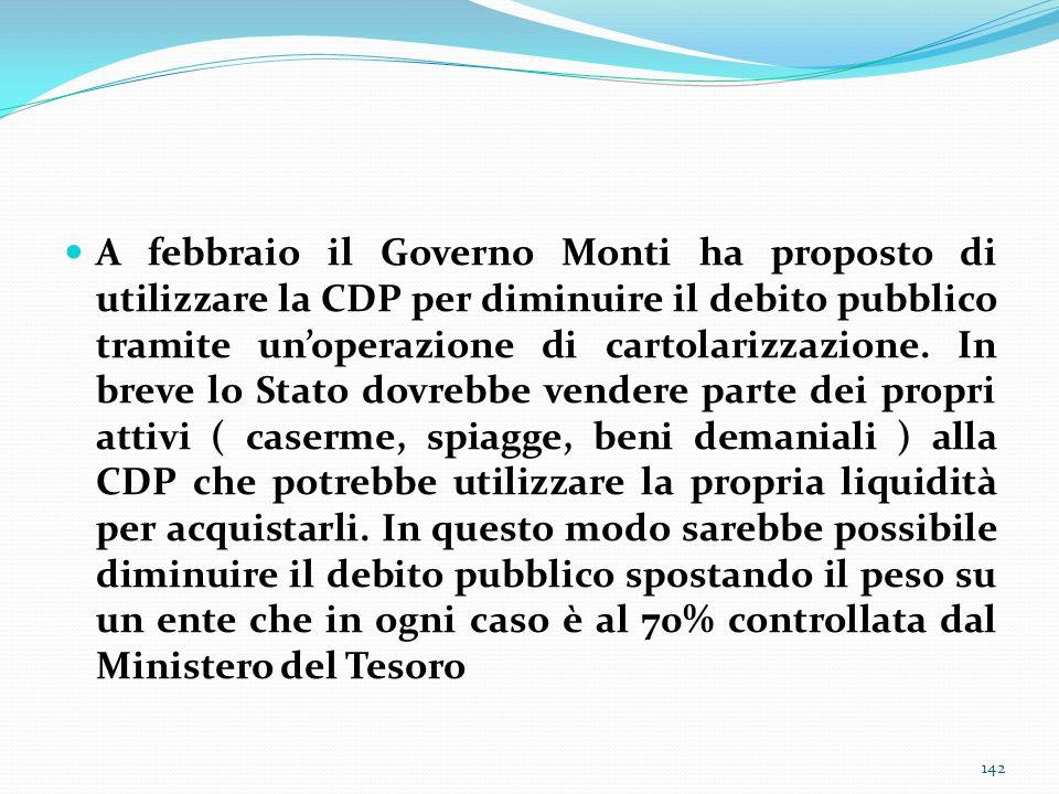 A febbraio il Governo Monti ha proposto di utilizzare la CDP per diminuire il debito pubblico tramite un'operazione di cartolarizzazione.