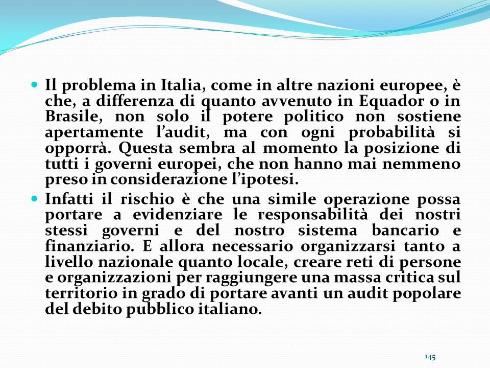 Il problema in Italia, come in altre nazioni europee, è che, a differenza di quanto avvenuto in Equador o in Brasile, non solo il potere politico non sostiene apertamente l'audit, ma con ogni probabilità si opporrà. Questa sembra al momento la posizione di tutti i governi europei, che non hanno mai nemmeno preso in considerazione l'ipotesi.