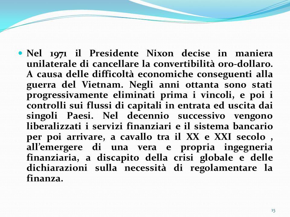 Nel 1971 il Presidente Nixon decise in maniera unilaterale di cancellare la convertibilità oro-dollaro.