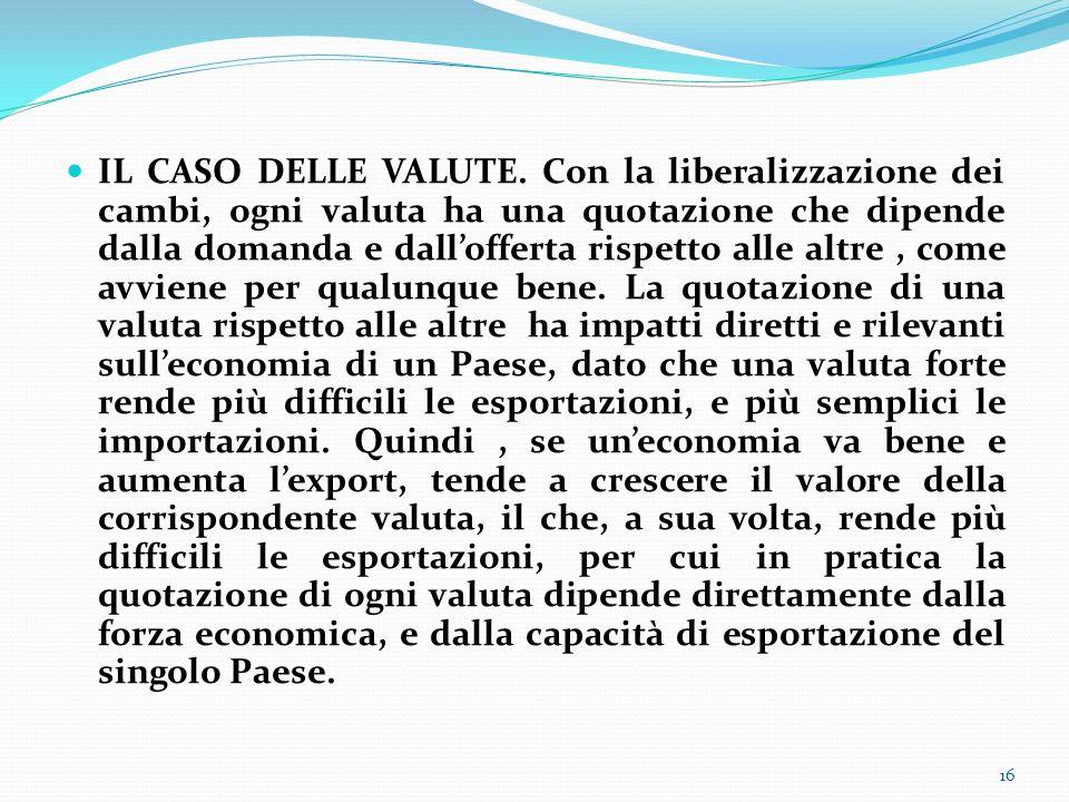 IL CASO DELLE VALUTE.