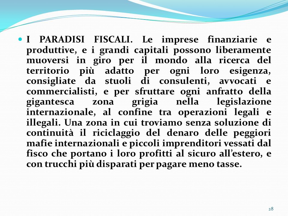 I PARADISI FISCALI.