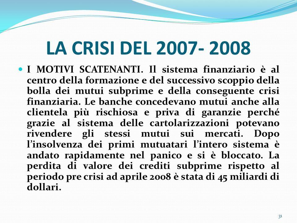 LA CRISI DEL 2007- 2008