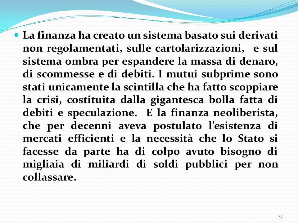 La finanza ha creato un sistema basato sui derivati non regolamentati, sulle cartolarizzazioni, e sul sistema ombra per espandere la massa di denaro, di scommesse e di debiti.