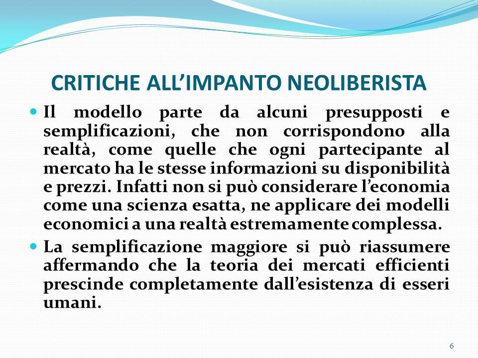 CRITICHE ALL'IMPANTO NEOLIBERISTA
