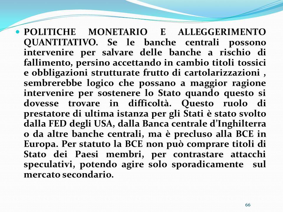 POLITICHE MONETARIO E ALLEGGERIMENTO QUANTITATIVO