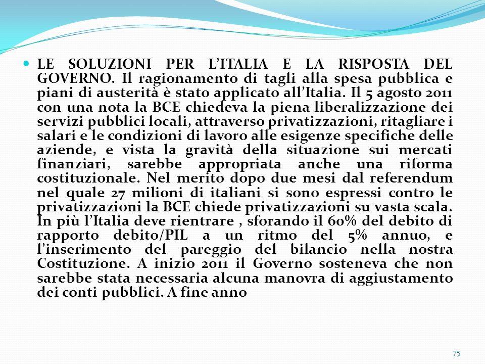 LE SOLUZIONI PER L'ITALIA E LA RISPOSTA DEL GOVERNO