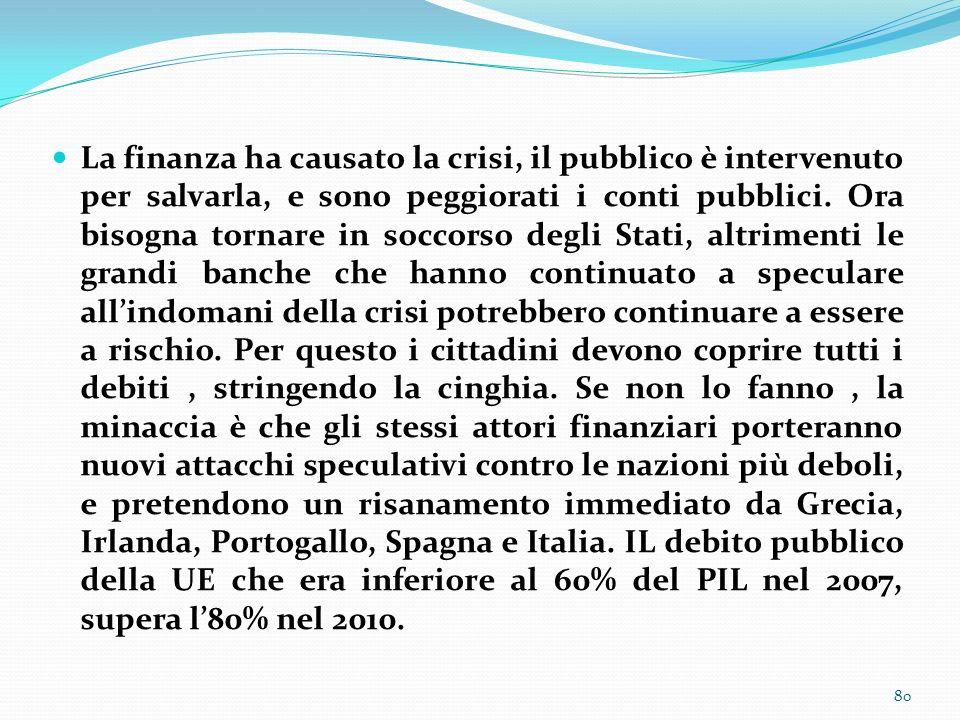 La finanza ha causato la crisi, il pubblico è intervenuto per salvarla, e sono peggiorati i conti pubblici.
