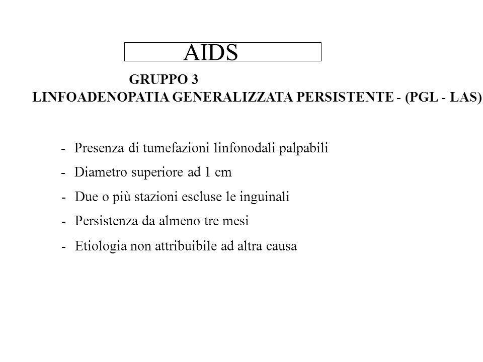 AIDS GRUPPO 3 LINFOADENOPATIA GENERALIZZATA PERSISTENTE - (PGL - LAS)