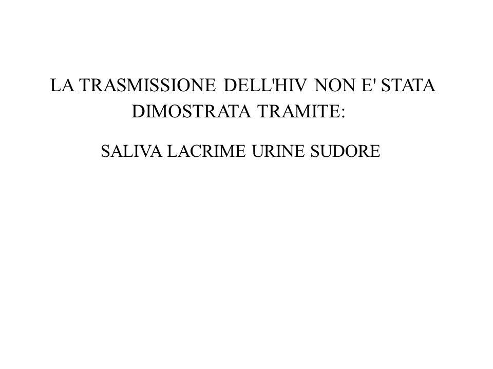 LA TRASMISSIONE DELL HIV NON E STATA DIMOSTRATA TRAMITE: