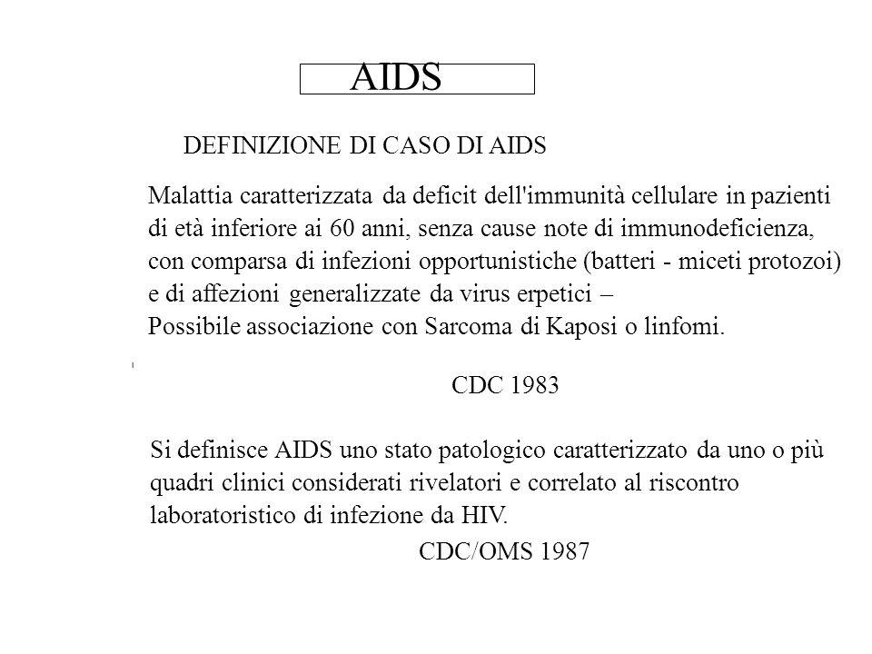 AIDS DEFINIZIONE DI CASO DI AIDS